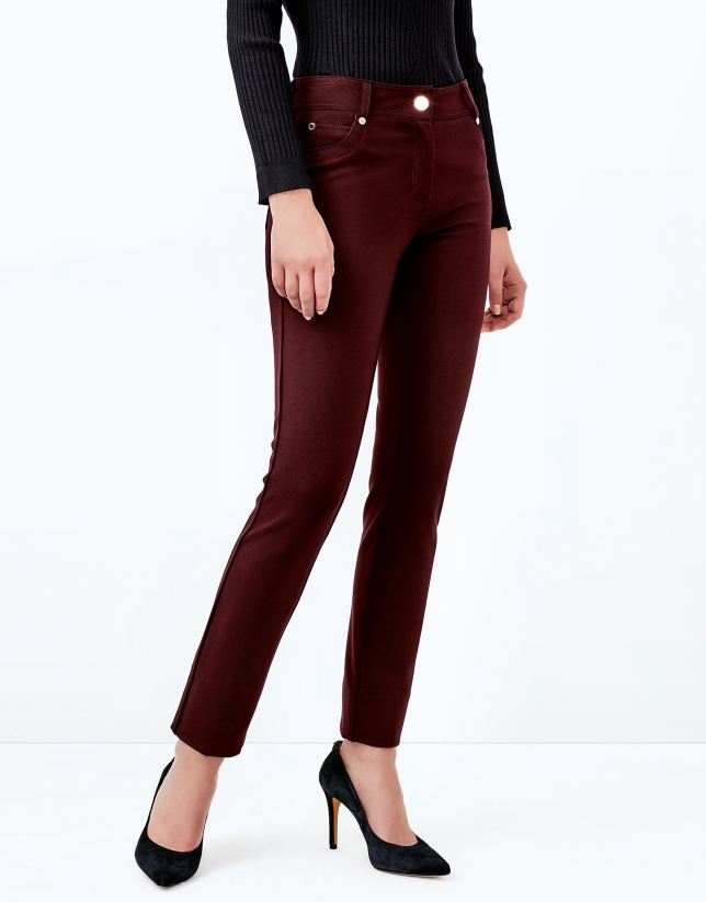 Aubergine pants with 5 pockets
