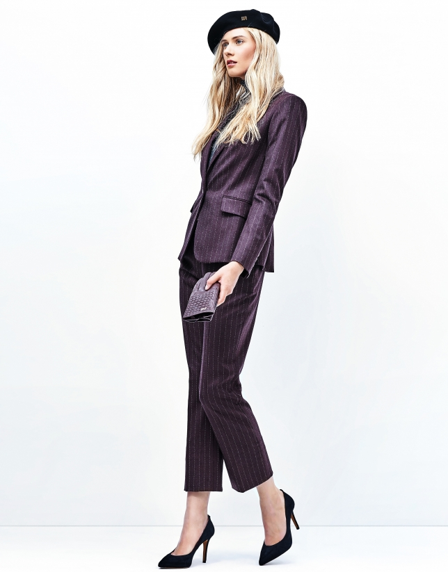 Aubergine pinstriped pants