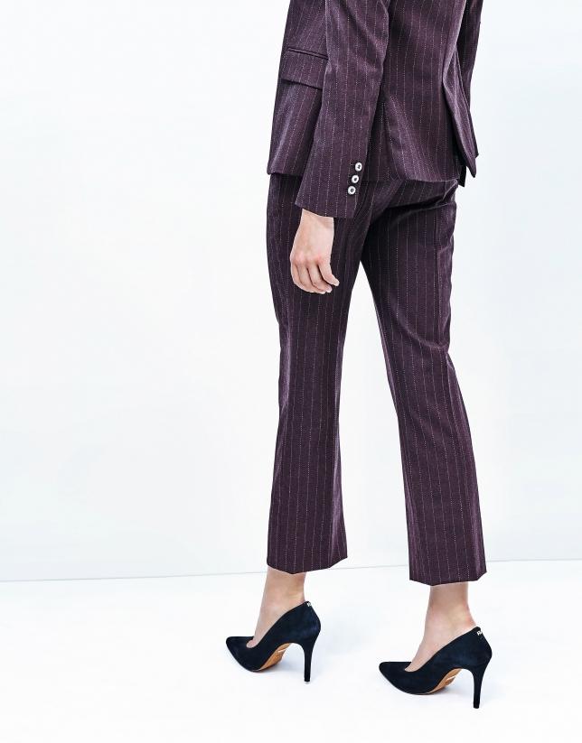 Pantalon à rayures diplomatiques aubergine