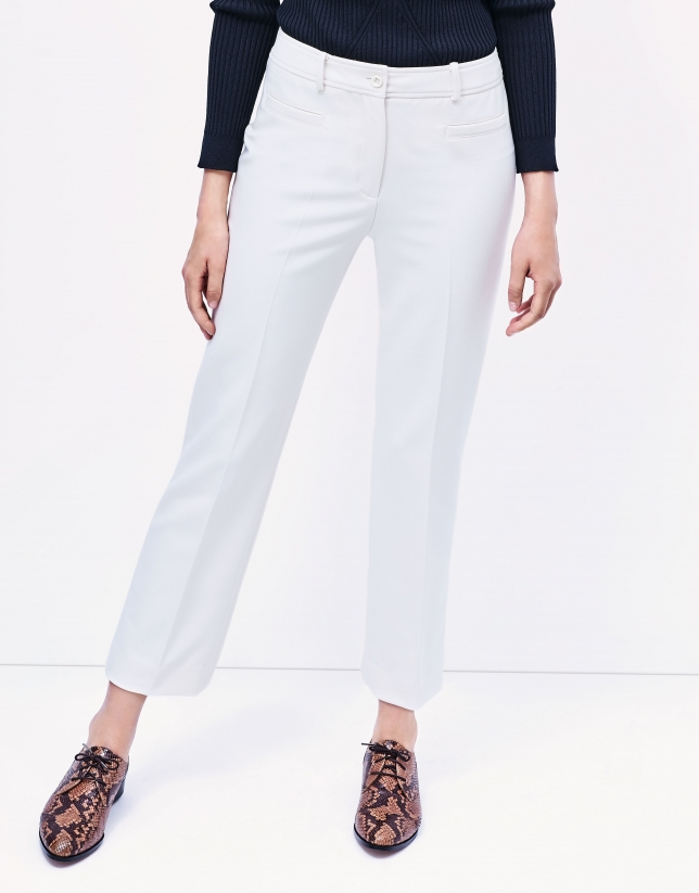 Pantalon crêpé blanc cassé
