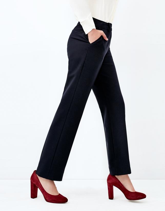 Blue crepe pants