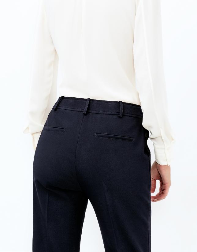 Pantalon crêpé bleu