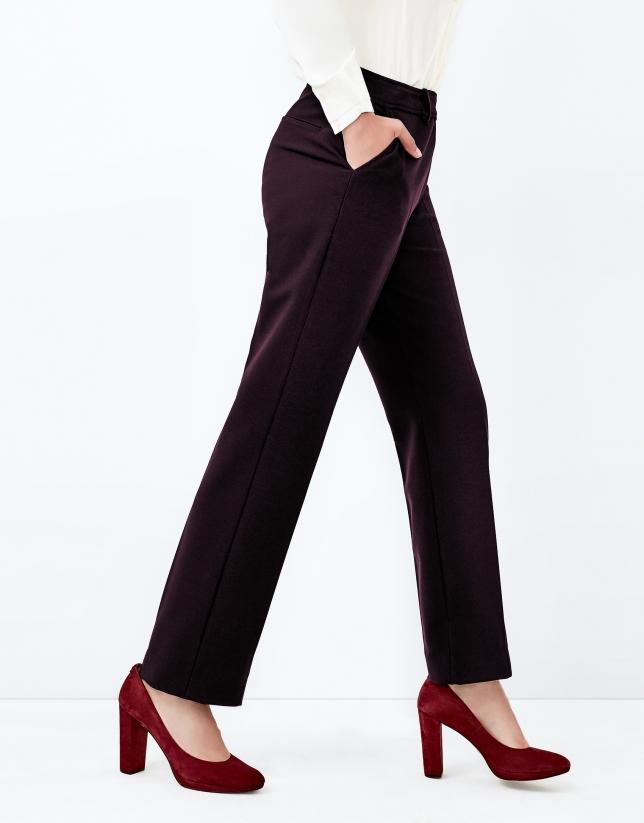 Pantalon crêpé aubergine