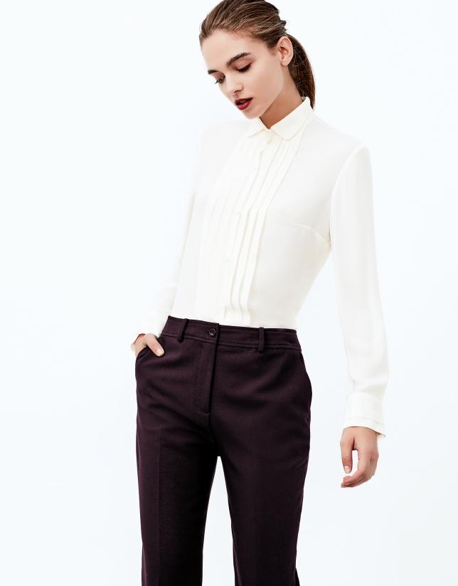 Aubergine crepe pants