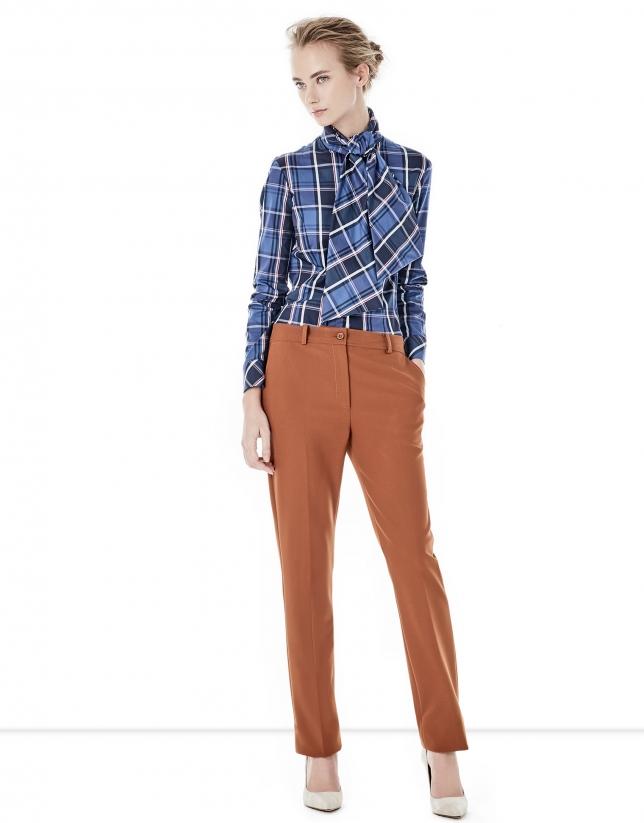 Pantalon crêpé couleur tuile