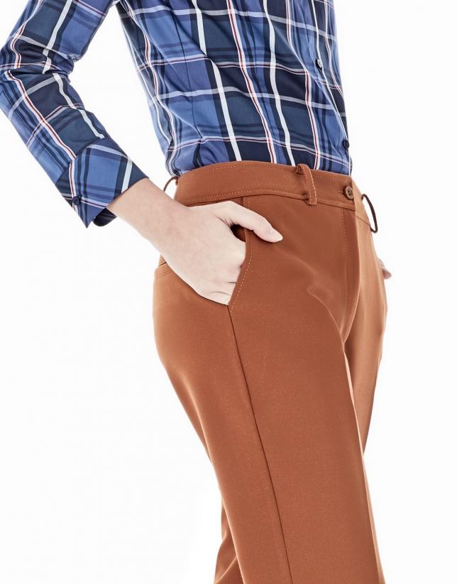 Pantalón crepe teja