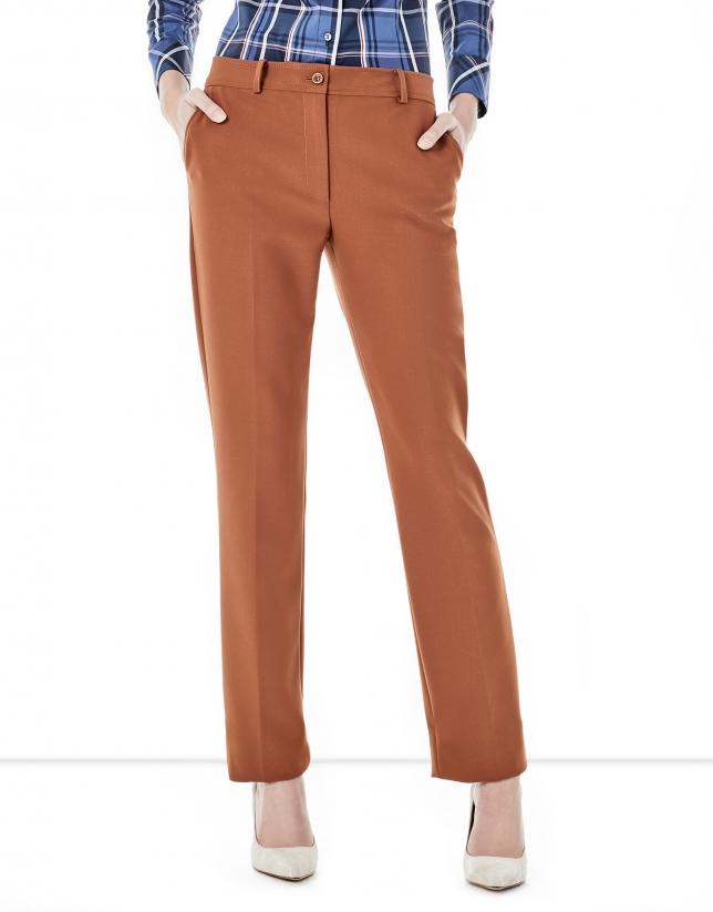 Brick red crepe pants