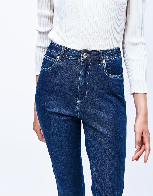Pantalon fuseau en denim taille haute