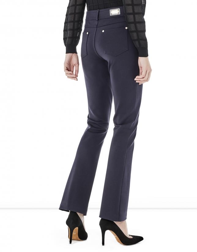 Blue bell-shaped pants