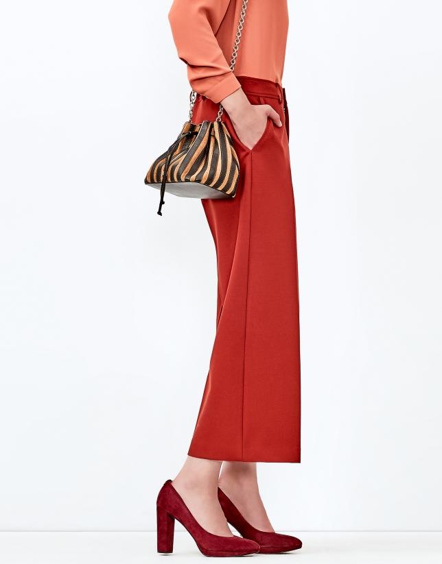 Jupe-culotte couleur cuivre