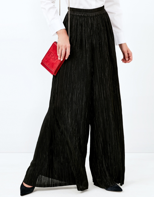 Black pleated palazzo pants