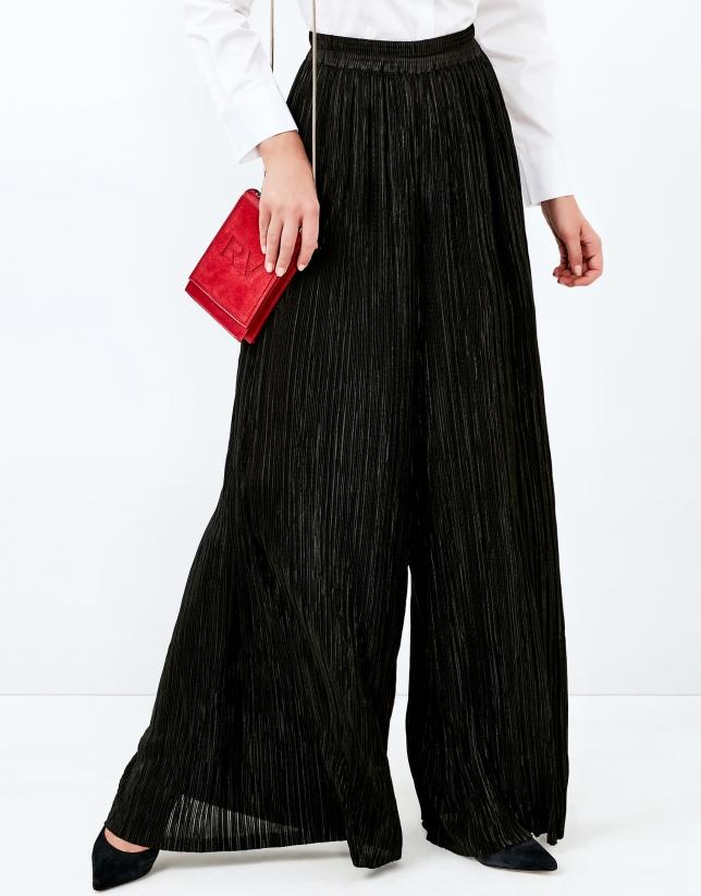Pantalon palazzo plissé noir