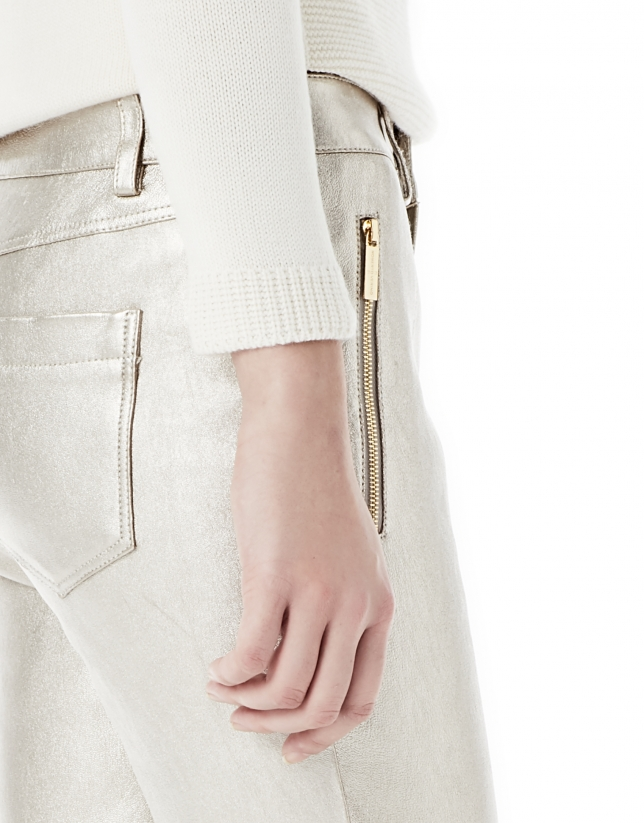 Pantalon fuseau doré