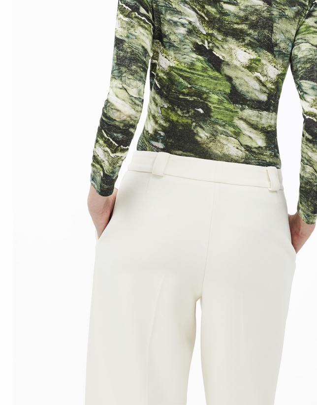 Pantalón culotte beige