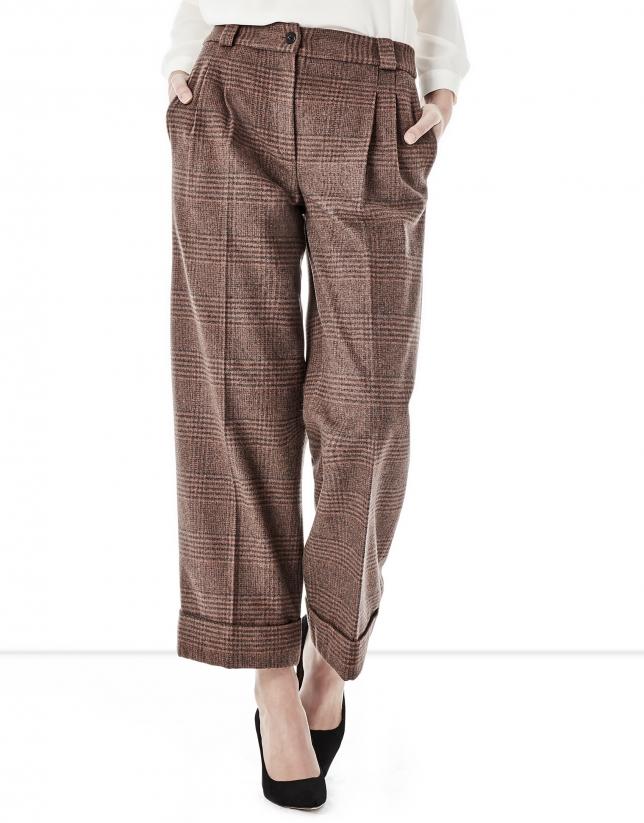 Pantalón culotte cuadros pata de gallo marrón