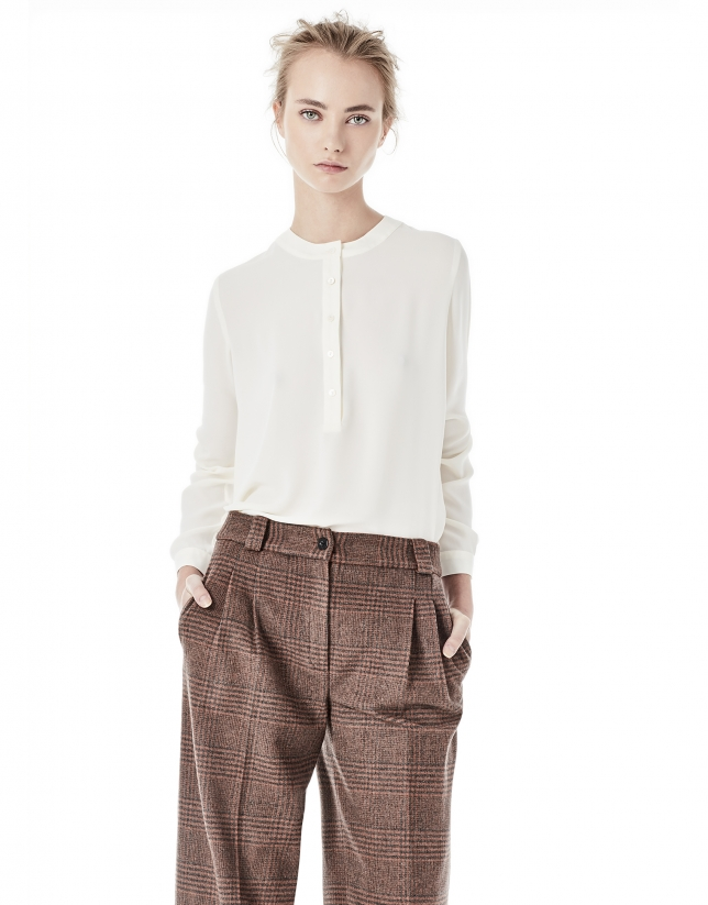 Brown hounds tooth culottes