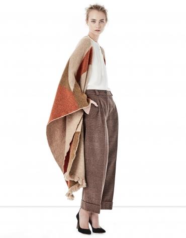 Jupe-culotte à carreaux pied de poule marron