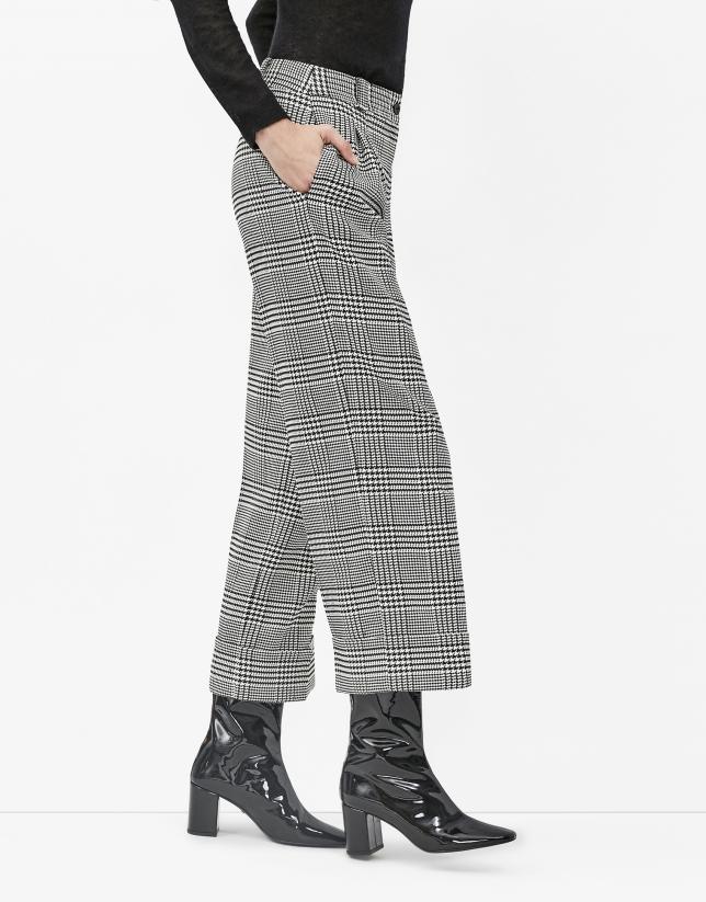 Jupe-culotte à carreaux pied de poule