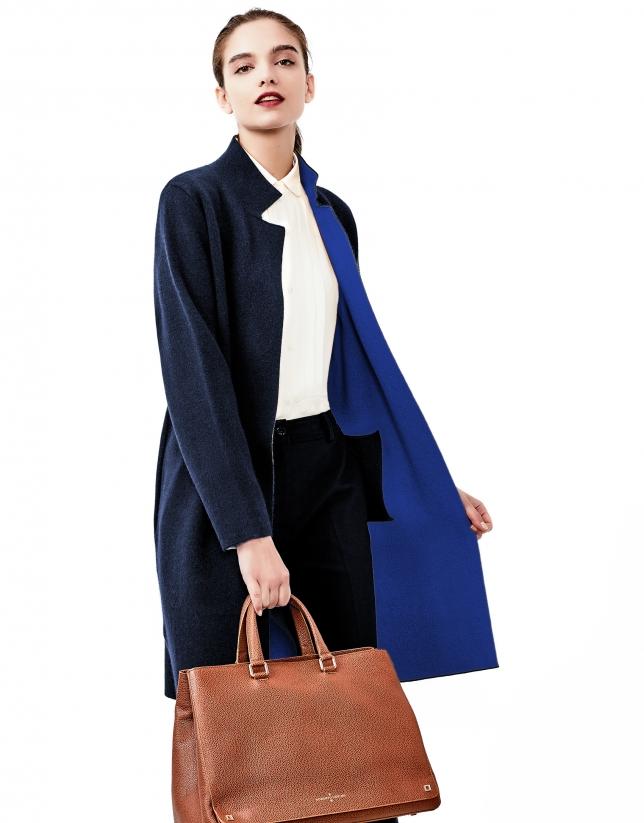 Manteau en maille bleu
