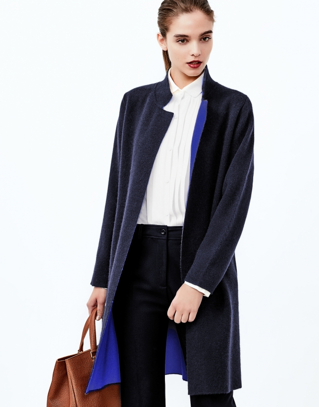 Blue knit coat
