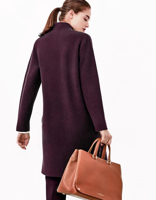Aubergine knit coat