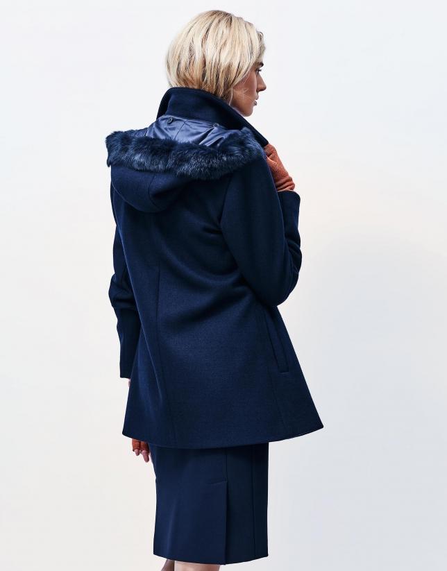 Blue hooded three quarter jacket