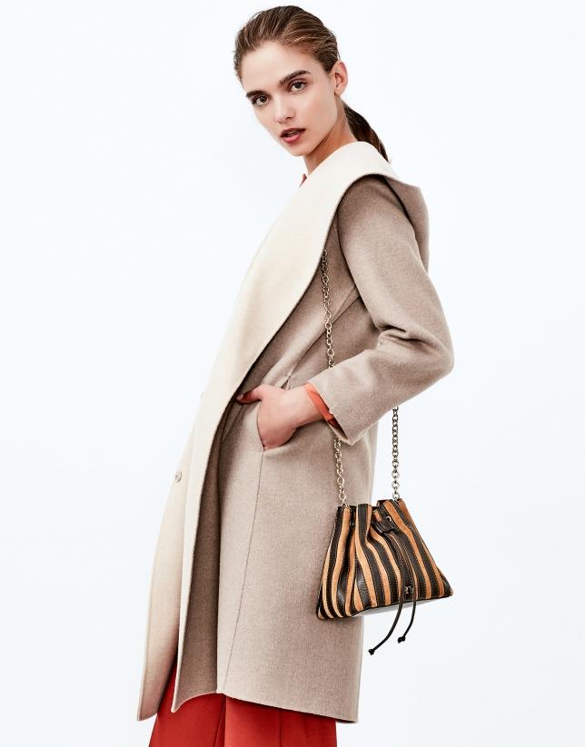 Beige double face hooded coat