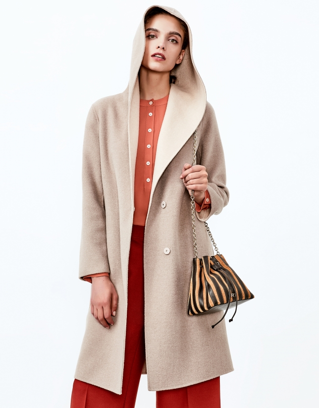 Beige double face hooded coat
