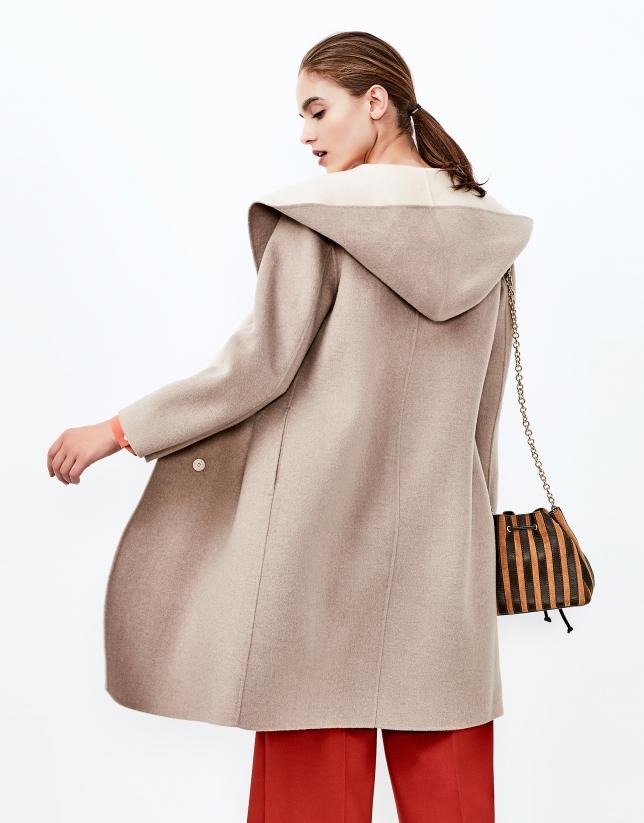 Abrigo capucha doble faz beige