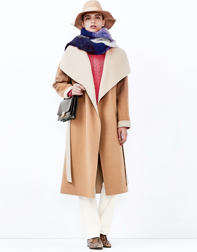 Beige double face coat