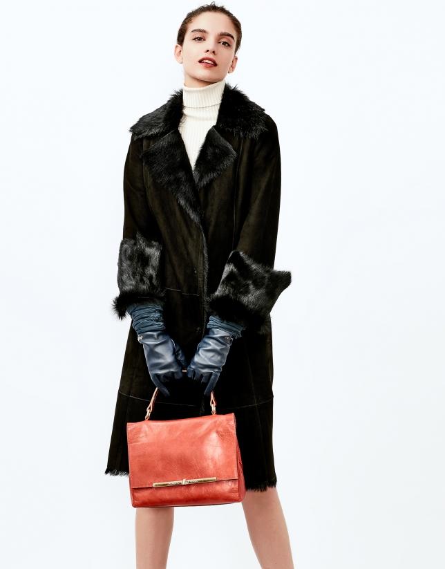 Manteau long  en cuir caprin noir
