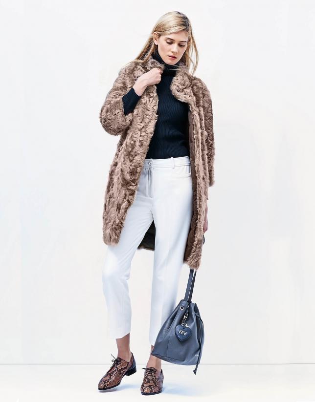 Ivory fur reversible coat