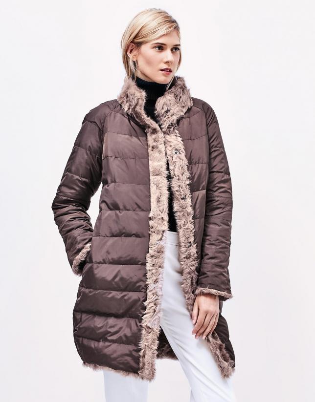 Manteau reversible en cuir d'agneau ivoire