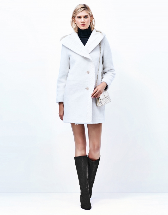 Off white lambskin fur three quarter jacket