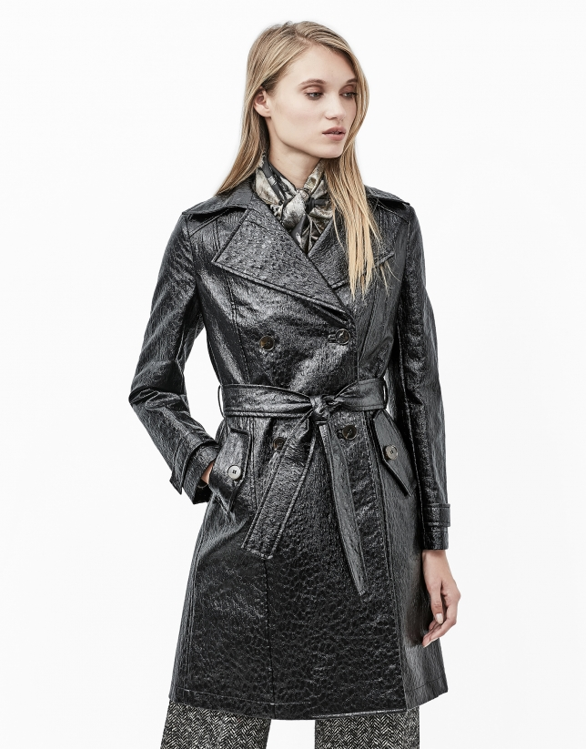Long coat with black alligator embossing