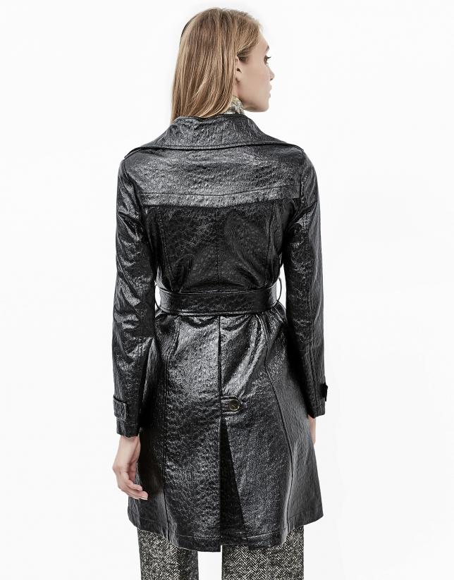 Manteau gabardine imprimée coco noir