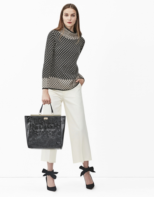 Grey jacquard sweater with polka dots