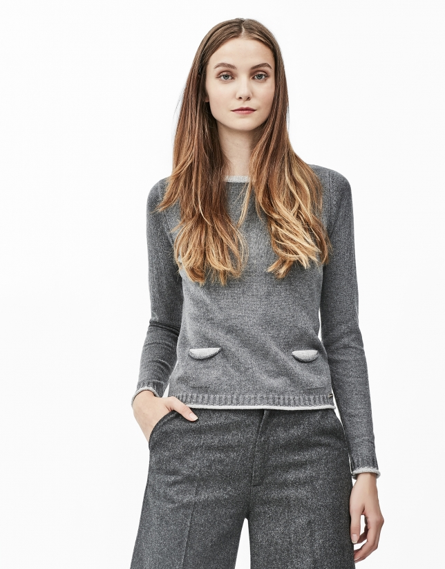 Pull avec poches gris