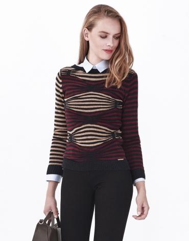 Blue sweater with geometric design