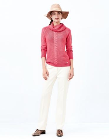 Jersey cuello chimenea rosa