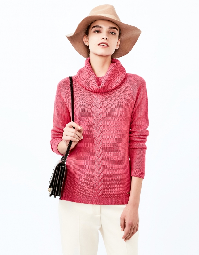 Pink sweater with stovepipe collar