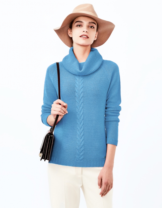 Blue sweater with stovepipe collar