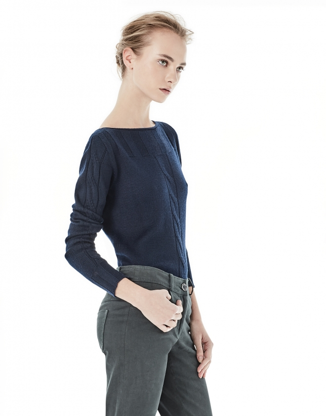 Blue cable stitch sweater