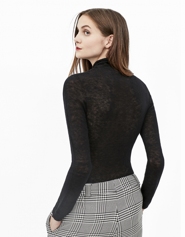 Black sweater with stovepipe collar