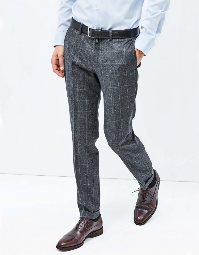 Pantalon à carreaux gris