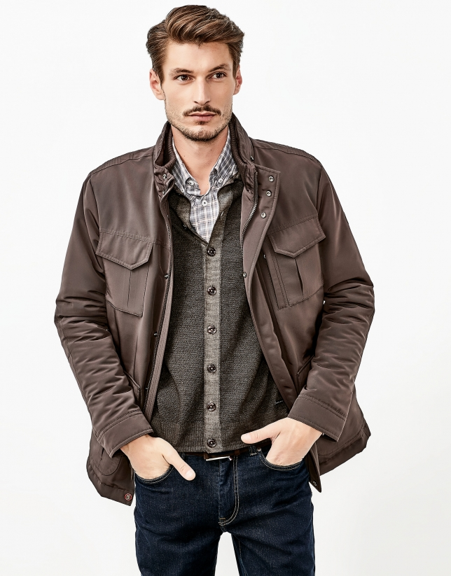 Brown quilted parka