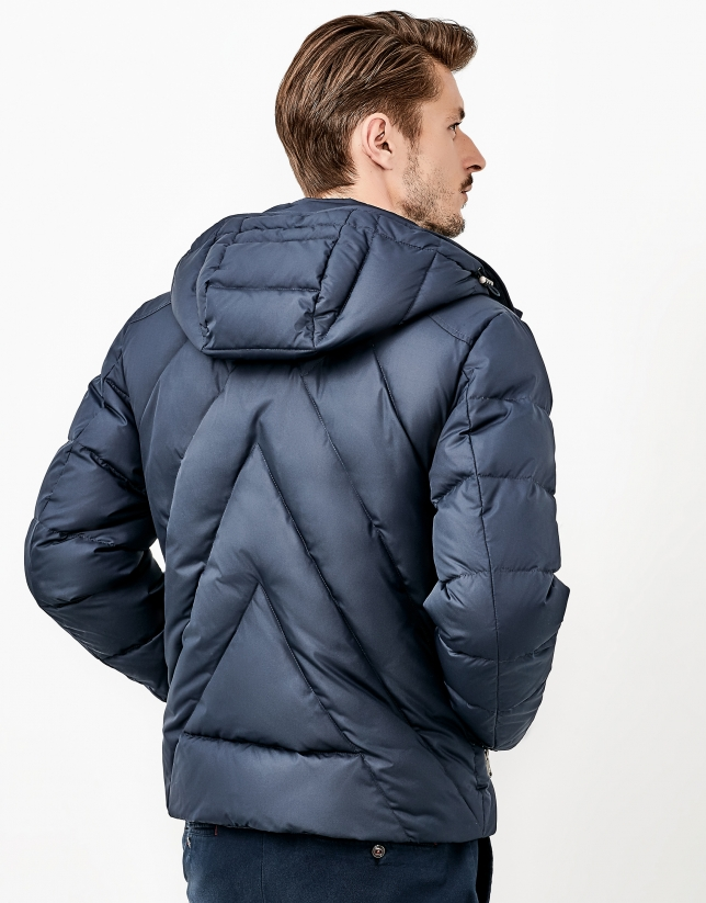 Blue quilted windbreaker