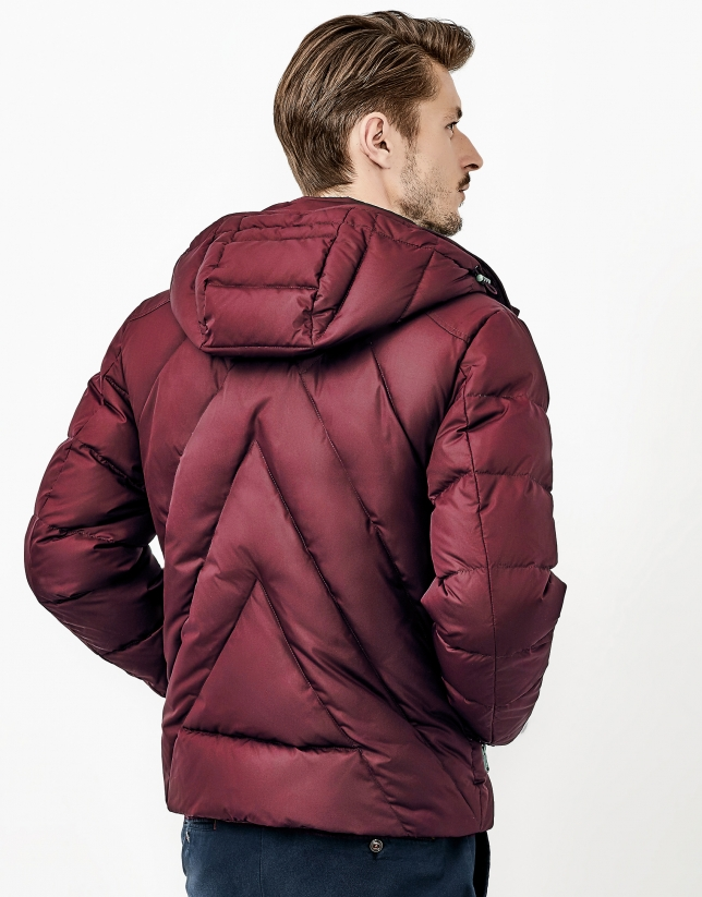 Red quilted windbreaker