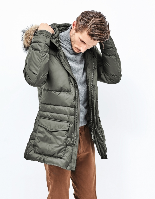 Green long quilted parka