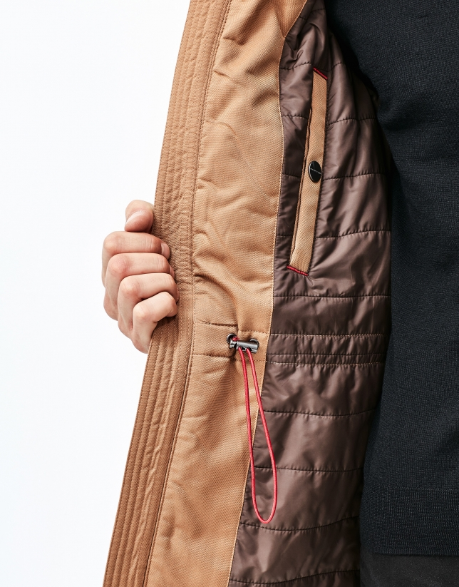 Quilted park with detachable hood